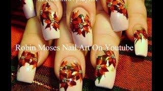 Pretty Christmas Flower Nails Diy Red Poinsettia Nail Art Design