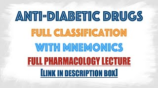 Anti Diabetic drugs/Blood glucose lowering agents classification in details described with mnemonics