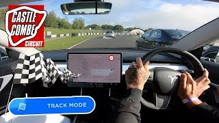 TRACK MODE used 250 Miles of range in 30 MINUTES! - Model 3 Performance Racing at Castle Combe