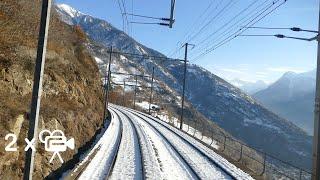 ★ 2x🎥 Lötschberg alpine crossing cab ride from Basel to Brig (through Switzerland)