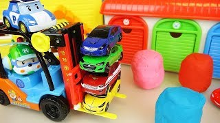 Poli cars heavy car toys play with Play doh surpise eggs