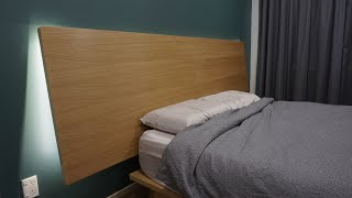 Floating Oak Plywood Headboard With LED Backlight