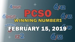 P49M Jackpot Ultra Lotto 6/58, EZ2, Suertres, 4 Digit, and Megalotto 6/45 Draw | February 15, 2019