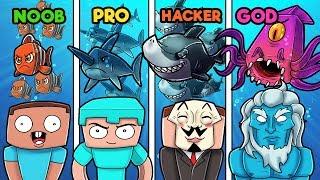 Minecraft - UNDERWATER WAR! (NOOB vs PRO vs GOD vs HACKER)