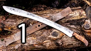 Forging A Kopis Short Sword Out Of A Lawnmower Blade Part 1  Forging The Blade