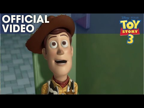 Where? questions and prepositions Toy Story 3 Bathroom scene