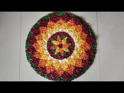 creative atta pookalam with paper by craft heart