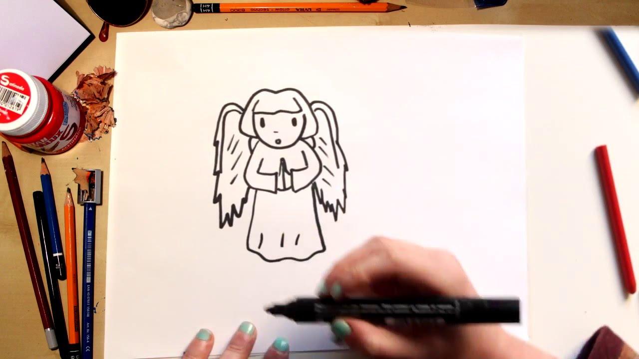 Como dibujar un Ángel- dibujos para niños