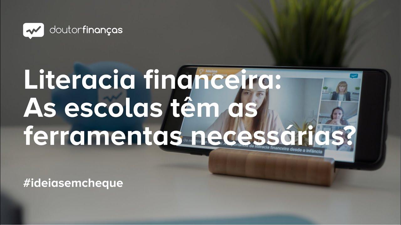 Imagem de um portátil onde se vê o programa Ideias em Cheque, organizado pelo Doutor Finanças, sobre literacia financeira infantil