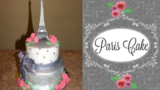 Paris Themed Cake With An Eiffel Tower Topper