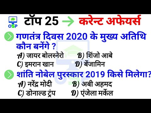 TOP 25 Current affairs 2019 | Current affairs in hindi 2019 | GK in hindi | RAILWAY | SSC | UPSC |