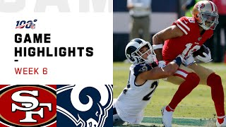 The San Francisco 49ers take on the Los Angeles Rams during Week 6 of the 2019 NFL season.  Subscribe to NFL: http://j.mp/1L0bVBu  Check out our other channels: NFL Vault http://www.youtube.com/nflvault NFL Network http://www.youtube.com/nflnetwork NFL Films http://www.youtube.com/nflfilms NFL Rush http://www.youtube.com/nflrush NFL Play Football https://www.youtube.com/playfootball NFL Podcasts https://www.youtube.com/nflpodcasts  #NFL #49ers #Rams