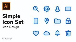 Designing A Simple Icon Set - Icon Design Process (Adobe Illustrator)   NQdesign