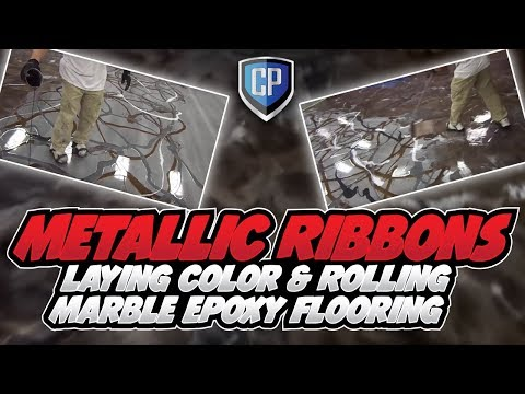 Metallic Ribbons – Laying Color & Rolling Marble Epoxy Flooring