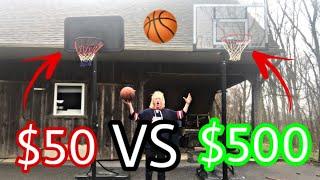 $50 BASKETBALL HOOP VS $500 BASKETBALL HOOP! (Which Is Better!)