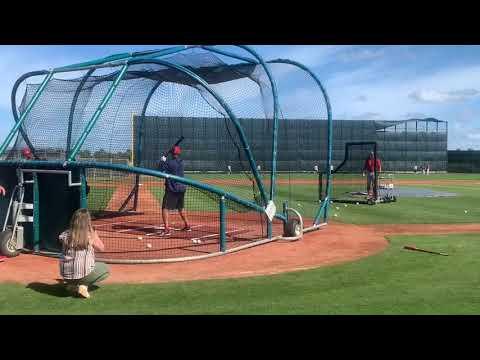 Rafael Devers, Boston Red Sox slugger, takes BP at spring training 2019