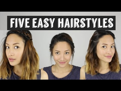 , title : 'Five Quick & Easy Hairstyles | How to Style Medium Length Hair'