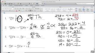 Video 8 - Atomic Structure - Nuclear Decay In Class Practice Worksheet