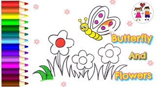 How To Draw A Butterfly In Flower Garden.| Coloring Pages For Kids With Nursery Rhymes.| Art4 Kids