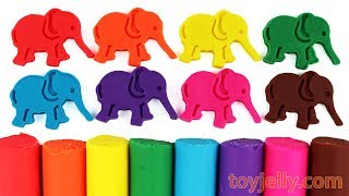 Learn Colors with Play Doh Elephant Molds and Lollipop Candy Surprise Toys! Fun & Creative for Kids