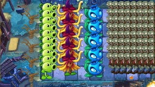 Pvz 2 - Electric Blueberry, Peashooter and Witch Hazel vs all Zombies