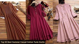 Top 50 Best Summer Casual Cotton Midi Dresses | Cotton\ Linen Tunic Kurtis