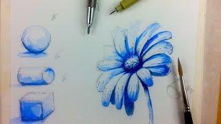 Акварель, Как нарисовать монохромный цветок