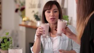 Youtube thumbnail for Strawberry Smoothies with Homemade Almond Milk and Zucchini Fritters by Emma Galloway