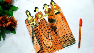 How To Draw A Traditional Dress/Indian Fashion Illustration/Indian Dress Sketch/Fashion Dresses
