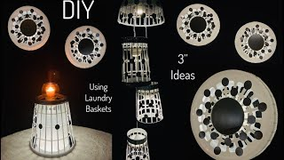 "3"" Different DIY Using Dollar Tree Laundry Baskets With LED Lightening 2020 #WithMe #StayAtHome"