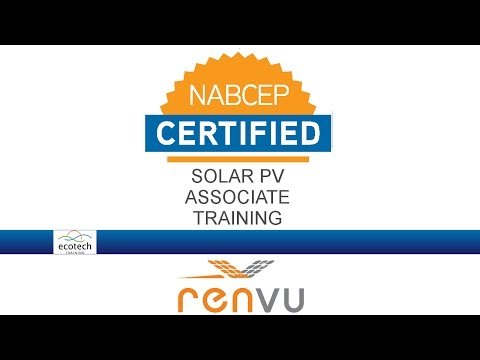 Ecotech Solar PV Associate Training NABCEP Prep Course RENVU ...