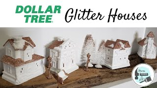 DIY Dollar Tree Lighted Glitter House Village