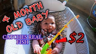 BABY Catches HUGE FISH On CHEAP TOY FISHING ROD! Fishing Challenge