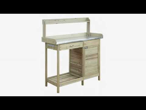 Must See Gardening Review! Convenience Concepts Deluxe Potting Bench, Light Oak
