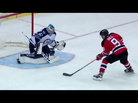 Hall with some sweet moves to snipe one past Hellebuyck
