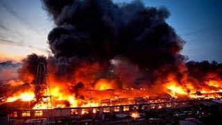 Очень сильный пожар на нефтебазе БРСМ под Киевом г.Васильков 08.06.2015