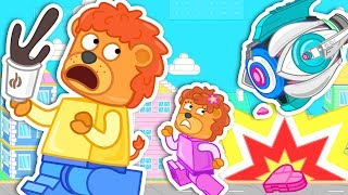 Lion Family Adventure in Lego City Cartoon for Kids