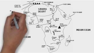 Physical Map of African Continent (Rivers, Mountains and Deserts)