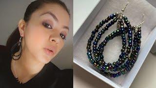 Aretes Largos De Glass Beads