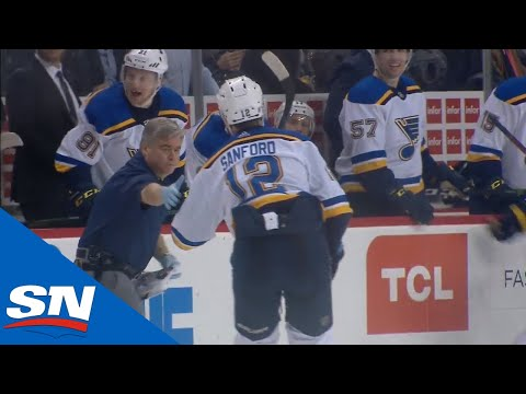 St. Louis Blues Trainer Jumps On Ice During Play To Help A Groggy Zach Sanford