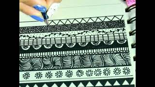 20 Easy Zentangle Border Patterns For Art Projects & Decorations | ZENTANGLE ART