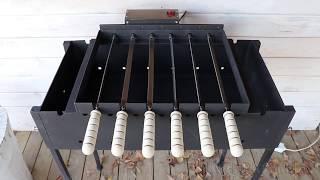 Электропривод для 10 шампуров на мангал - Электропривод для мангала - Шампуры-самокруты - между шампурами 70 мм - видео 3