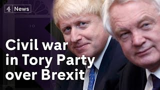 Tory civil war amid plot to bring down PM over Brexit policy