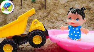 Excavator, Dump Truck To Help Babies Wash Clean - Kid Studio