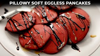 Red Velvet Mini Pancakes - Super Soft & Pillowy Eggless Pan Cakes - CookingShooking