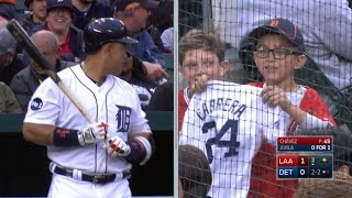 Young fan changes into a Cabrera jersey
