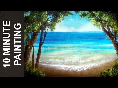 Painting a Summer Beach Landscape with Acrylics in 10 Minutes!