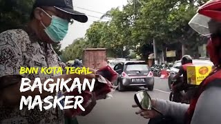BNN Kota Tegal Bagikan Masker Sekaligus Edukasi Warga tentang Pentingnya Memakai Masker