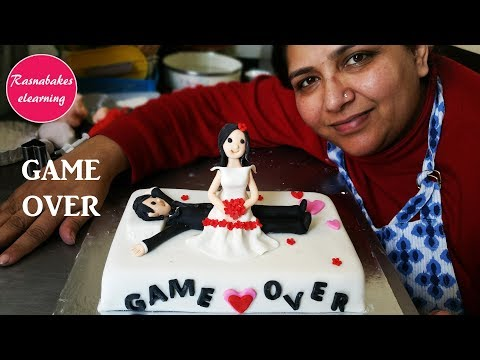 How to make Wedding Cake design:funny 3D fondant wedding cake toppers decorating classes