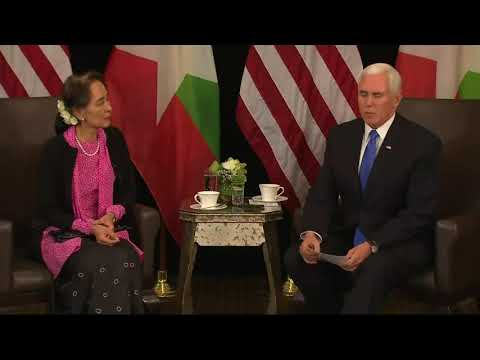 "Vice President Mike Pence told Myanmar's leader Aung San Suu Kyi on Wednesday that the violence the Rohingya people have experienced is ""without excuse."" Suu Kyi said Myanmar's leaders are in a better position to explain the situation. (Nov. 14)"